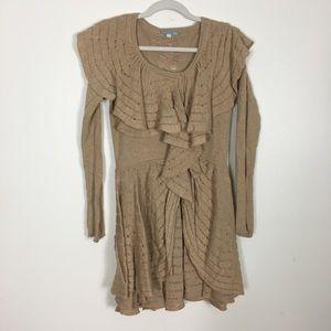 Leifnotes Anthropologie Tan Ruffle Wool Sweater